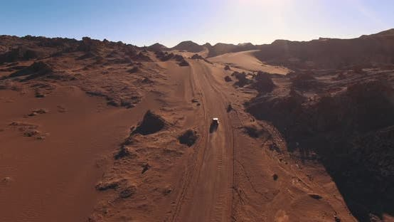 Thumbnail for The Car Rides Along a Scenic Road in the Popular Among Tourists Moon Valley in Atacama Desert, Chile