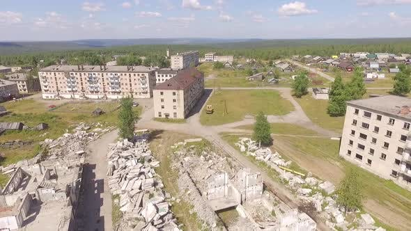 Thumbnail for Dying destroyed city Yubileiniy, Aerial, Russia, Perm region