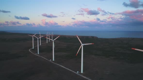Thumbnail for Aerial View of Wind Turbine Generator Blades Rotating on Sea Coast at Sunset Near Kaliakra Cape at