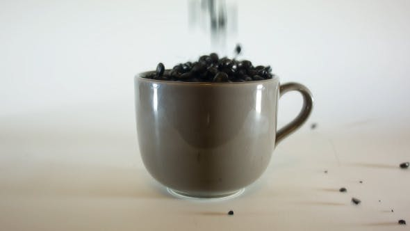 Thumbnail for Pouring Coffe Beans In Big Coffee Mug 02