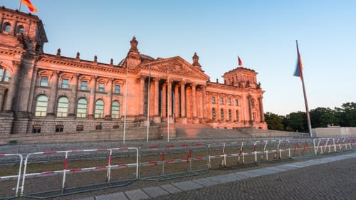 Golden hour time lapse of the Reichstag building in Berlin, Germany