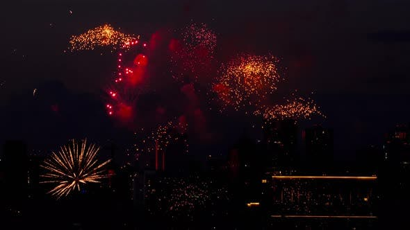 Thumbnail for Colorful of Fireworks at City Day Festival