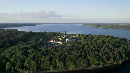 Aerial View Of Pazaislis Monastery and Church near Kaunas Artificial Lake