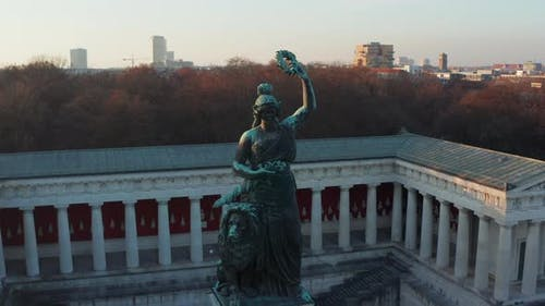 Ruhmeshalle and Bavaria Monument Statue of Woman and a Lion in Munich, Germany Oktoberfest