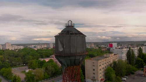 Aerial View of Old Wooden Water Tower in Small European City