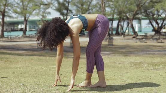 Thumbnail for Sportive Woman Training Yoga in Park