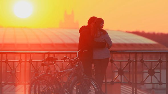 Thumbnail for Couple Enjoying Scenic Sunset In the City