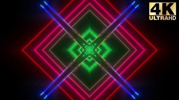Thumbnail for 4k Red Green Geometric Pattern Vj Pack