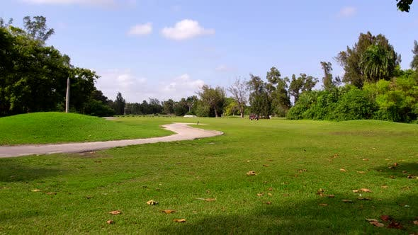 Aerial Motion Footage Golf Course Landscape Color Graded From Log Profile