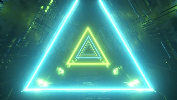Thumbnail for Sci-fi Tunnel with Neon Triangles. Endless Flight Forward. Modern Neon Lighting. Seamless Loop 3d