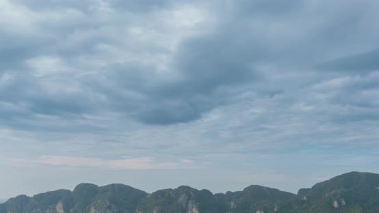 Thumbnail for Time Lapse of Day Clouds Over the Wonderful Bay of Phi Phi Island Landscape with Boats. Andaman Sea