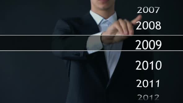 Thumbnail for Businessman Selects 2014 Year in Virtual Menu, Search for Data, Business History