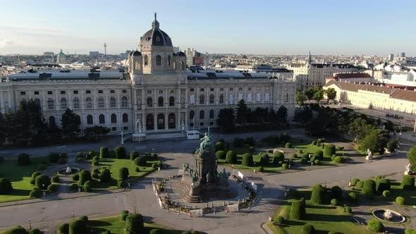 Aerial view of Maria-Theresien-Platz in Vienna, Austria, Europe