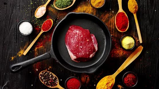 Meat on Pan and Spices