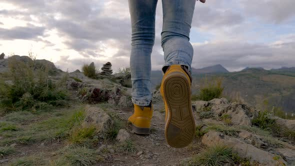 Thumbnail for Successful Hike Active 20s Man Walk Forward Mountains To Top in Boots Step Way