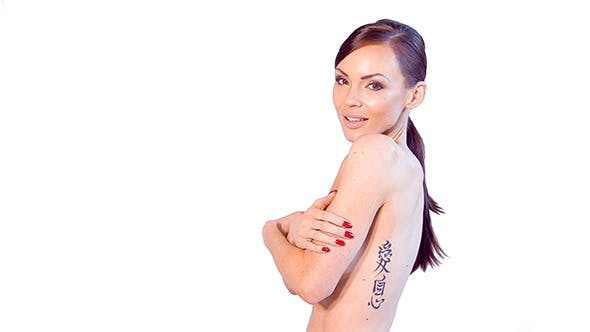 Thumbnail for Sexy Tattooed Brunette Posing Isolated on White