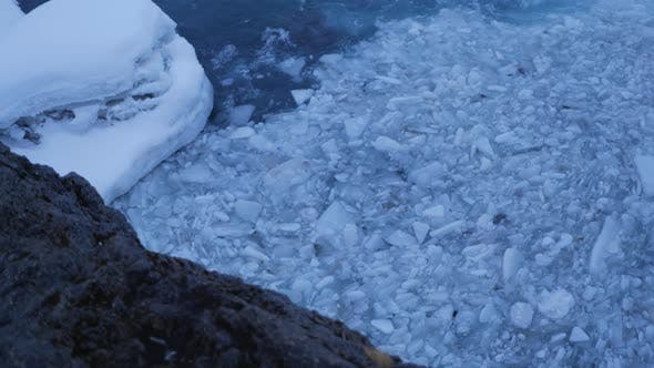 Thumbnail for Iceland View Of Swirling Ice Chunks Trapped In Strong Water Current 1