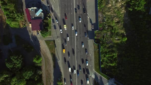 Thumbnail for Drone View Car Traffic on City Road at Summer. Top View Car Moving Highway Road