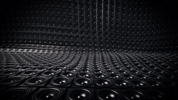 Shiny Black Random Tiled Speakers Waving Seamless Loop