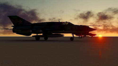 Fighter Jet and Sunset