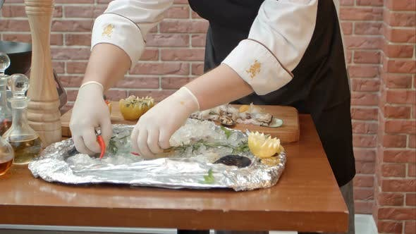 Thumbnail for Chef Preparing Fresh Seafood To Cook It