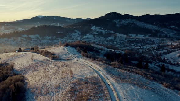 Aerial View of the Village in Winter Mountains Sunrise in Winter Carpathian Mountains Aerial View