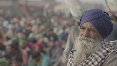 Old Farmer protesting at farmers protest in India