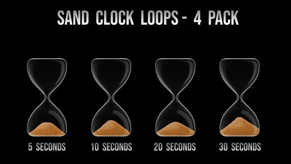 Hour Glass / Sand Clock Pack - 4 Clips - 4K
