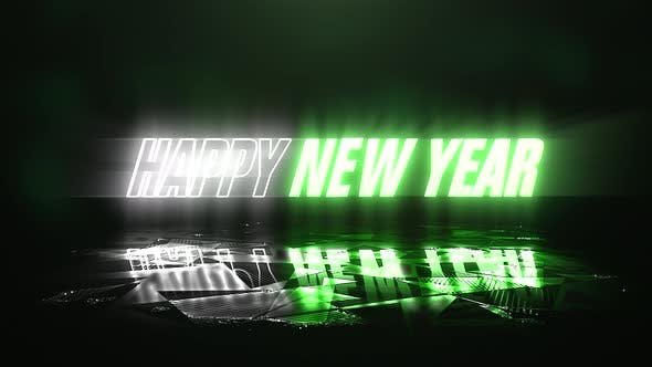 Thumbnail for Animation text Happy New Year and neon green and white text color, abstract holiday background