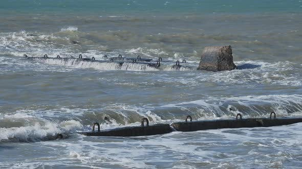 Thumbnail for Sea Surf on Rocky Beach. Tranquil Natural Background at Sunny Day. Black Sea, Sochi, Russia.