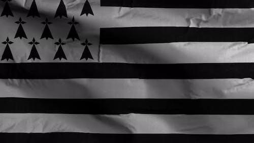 Brittany Flag Textured Waving Background 4K