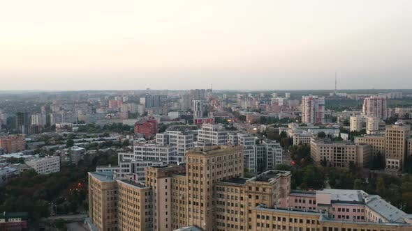 Thumbnail for Stunning Panoramic Shot of Famous Karazin University and the Historic Building of Derzhprom Located