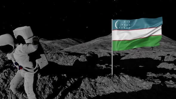 Astronaut Planting Uzbekistan Flag on the Moon