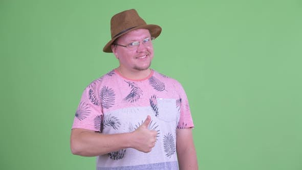 Thumbnail for Happy Overweight Bearded Tourist Man Giving Thumbs Up