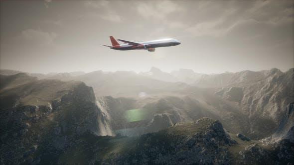 Thumbnail for Passenger Aircraft Over Mountain Landscape