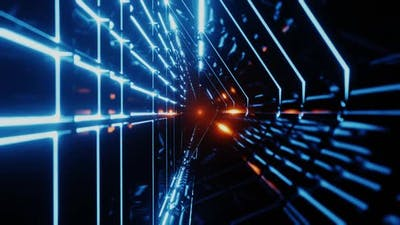 Endless Futuristic Space Tunnel with Neon Lights