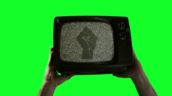 Thumbnail for Male Hands holding Retro TV with Raised Fist over Green Screen.