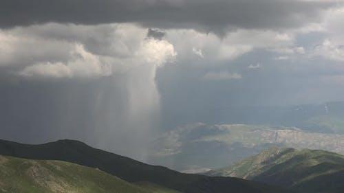 Downburst Curtain of Rain in Mountains