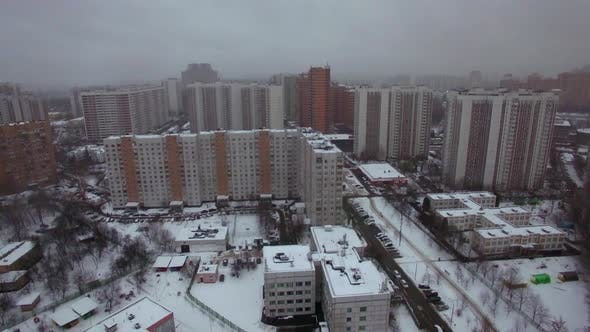 Cover Image for Aerial View of Apartments Houses in Winter Moscow, Russia