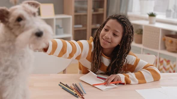 Girl Drawing and Talking to Dog