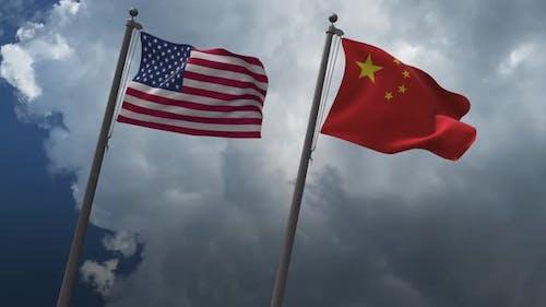 Drapeaux brandissant des États-Unis et de la Chine 4K