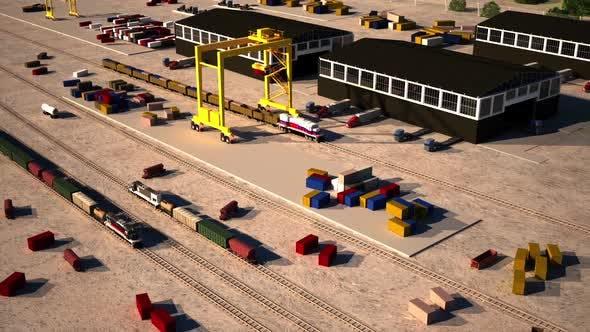 Train loading center, 3D train Animation.