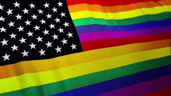 Thumbnail for Gay America LGBT Pride Flag with Added Canton of the Flag of the United States