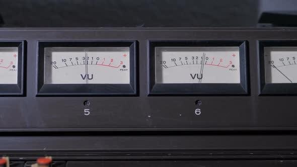 Closeup Panel with VU Meters Signal Indicators