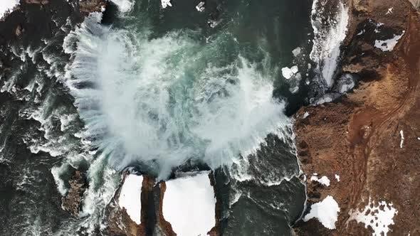 Thumbnail for Godafoss Waterfall on Skjalfandafljot River, Iceland. Aerial View