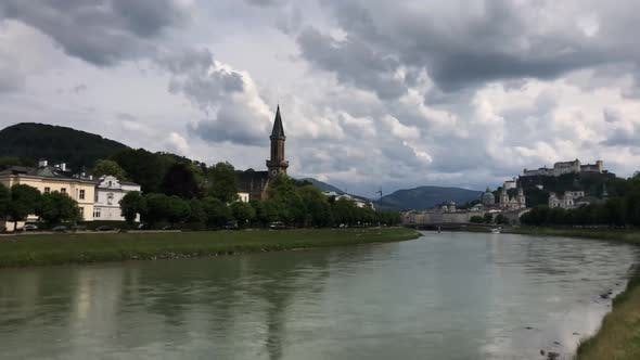 Time lapse from the salzach river in Salzburg