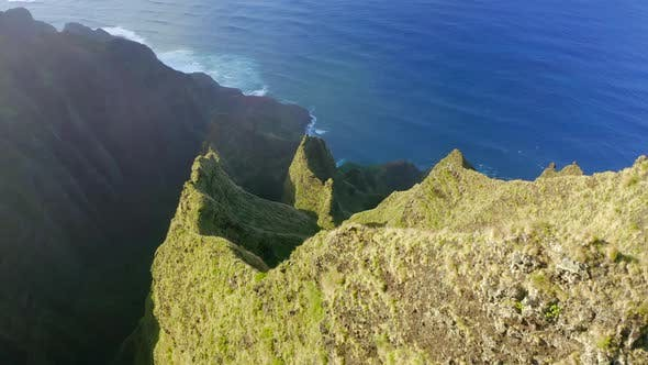 Thumbnail for Aerial View of Green Tropical Mountain Peaks at Na Pali Park, Hawaiian Coastline