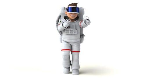 Fun 3D cartoon cosmonaut with a VR Helmet