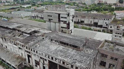 Aerial view of the largest abandoned factory. Factory ruins