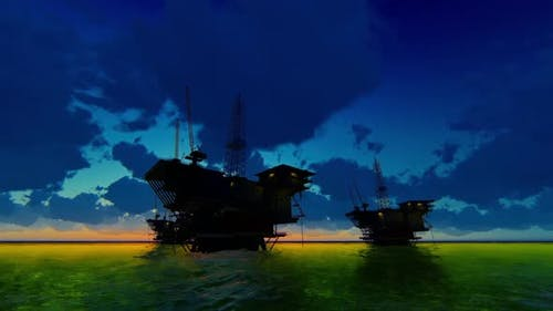 Accumulation Of Oil Rigs At Sea